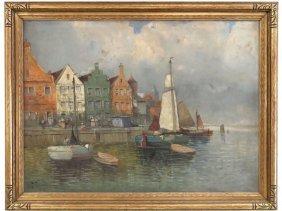 Large Frederick Wagner  (1864 - 1940) Harbor Scene