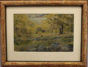 Jasper Cropsey  (1823 - 1900) Watercolor Landscape