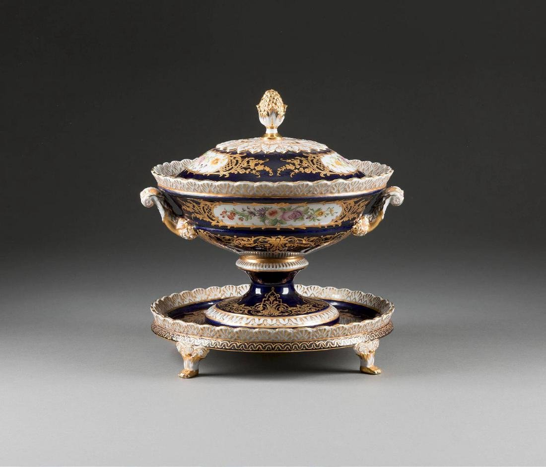 A LARGE PORCELAIN TUREEN WITH COVER AND STAND Probably