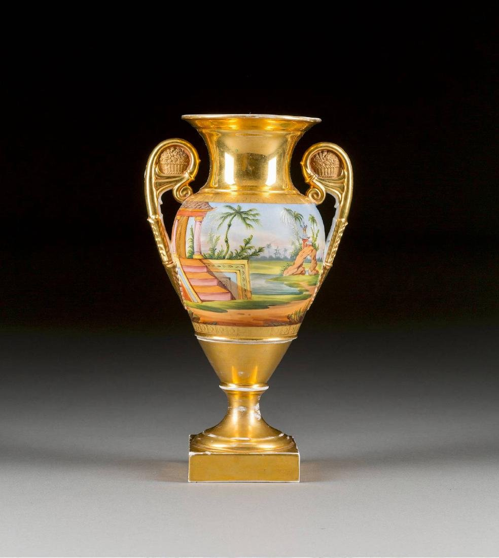 A PORCELAIN VASE WITH CHINOISERY Russian or French,