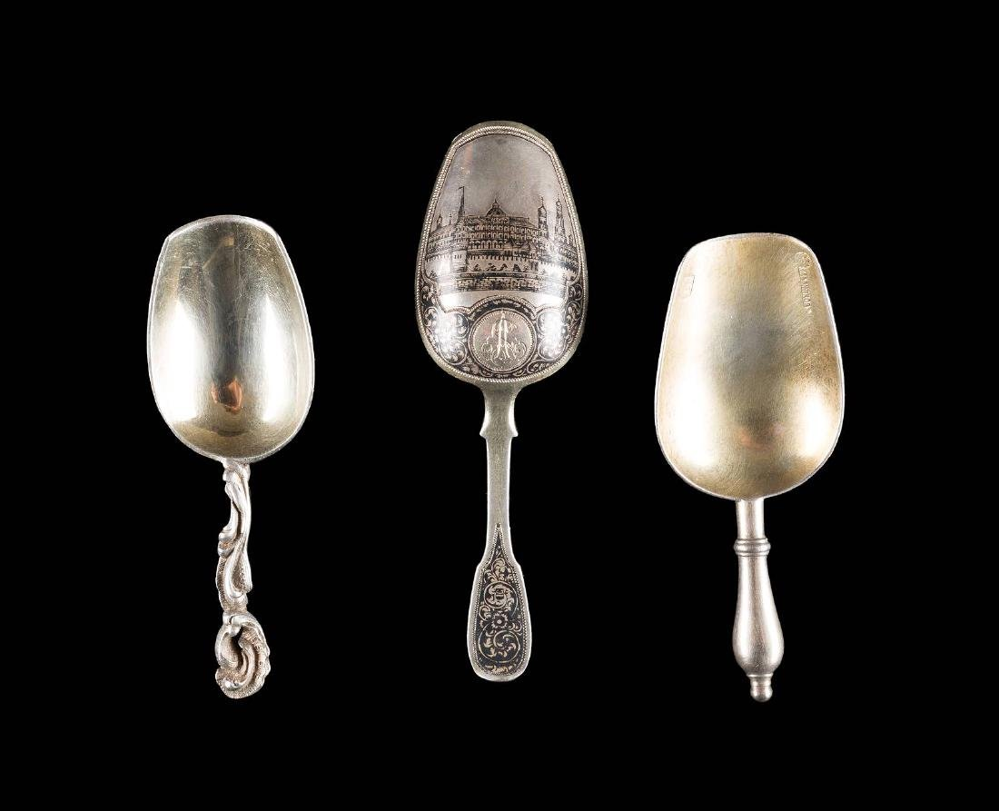 THREE SILVER TEA SHOVELS Russian, Moscow, Fabergé and