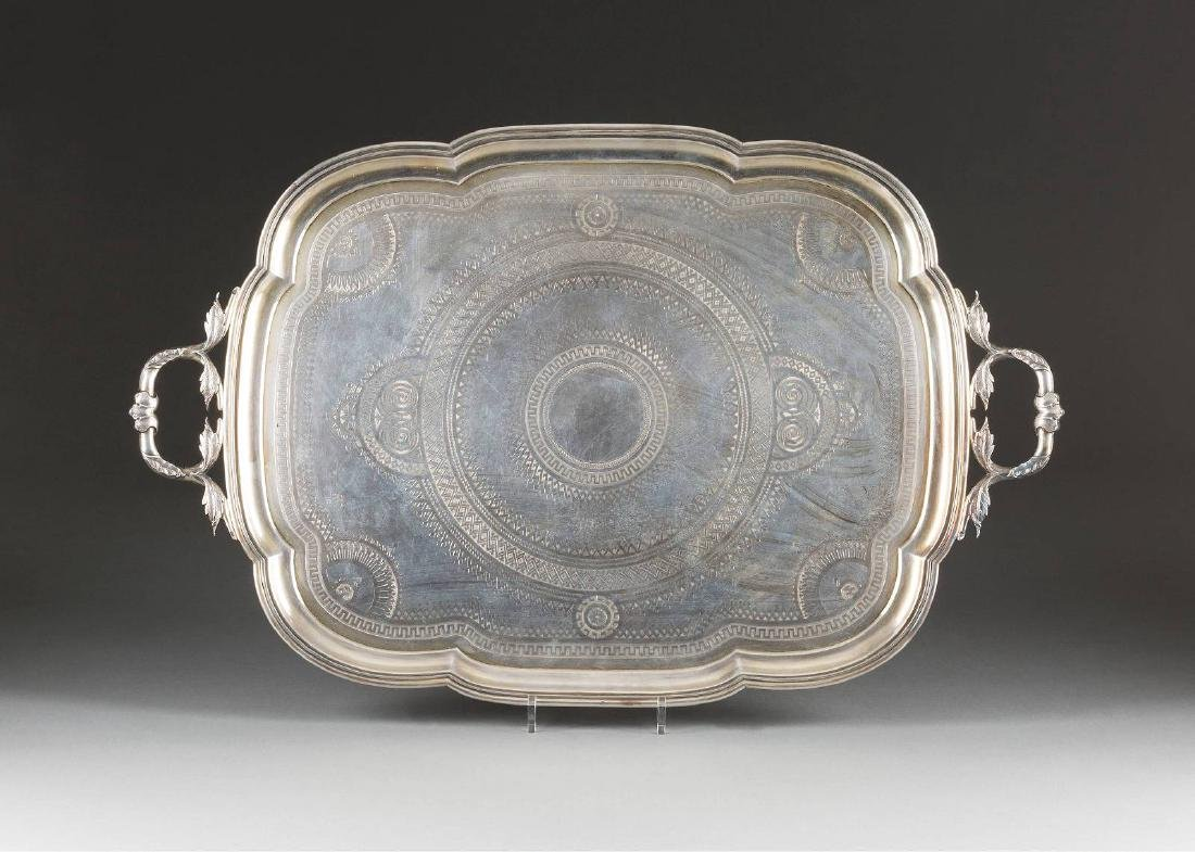 A LARGE SILVER PARCEL-GILT TRAY WITH TWO HANDLES IN THE