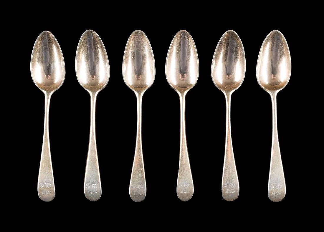 A SET OF SIX SILVER-GILT SPOONS Russian, St.