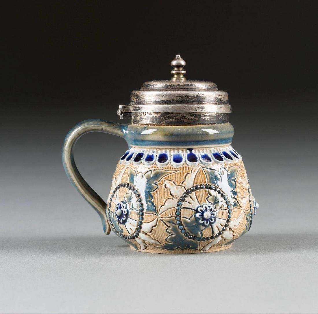 A SMALL CERAMIC SILVER-MOUNTED MUSTARD POT England, - 2