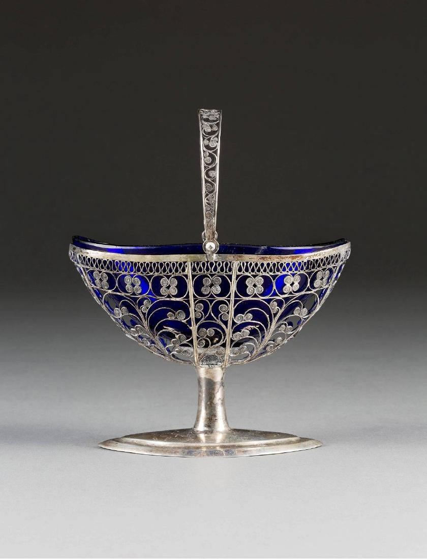 A SILVER FILIGREE FOOTED BOWL WITH HANDLE Baltic, circa