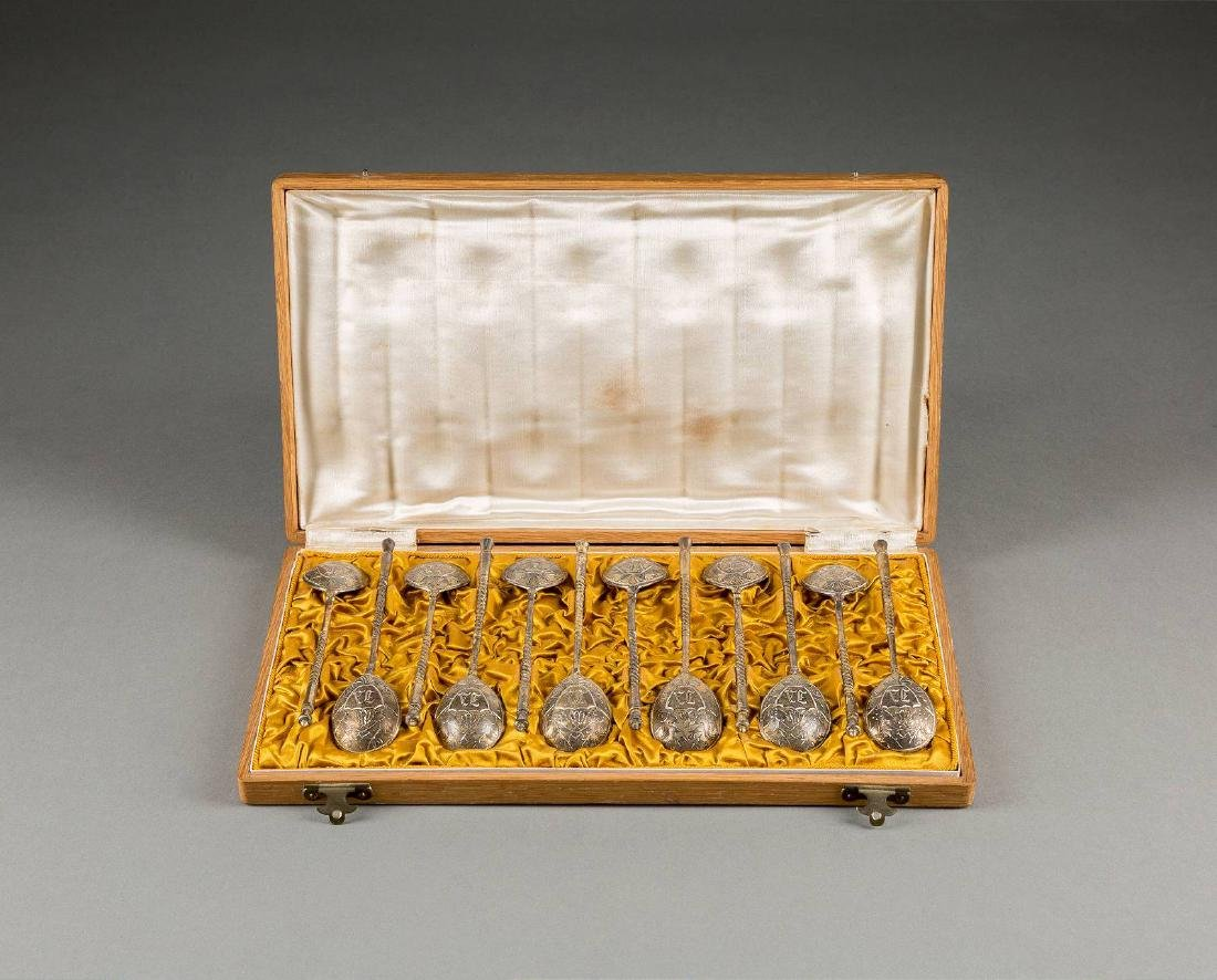 A SET OF TWELVE SILVER-GILT SPOONS Russian, Moscow,