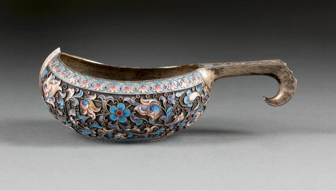 A LARGE SILVER AND CLOISONNÉ ENAMEL KOVSH Russian,