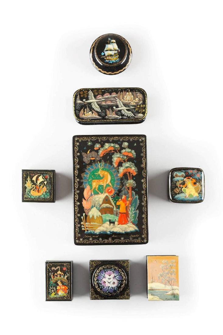 A GROUP OF EIGHT LAQUER BOXES Soviet Union, Lipetzk, N.