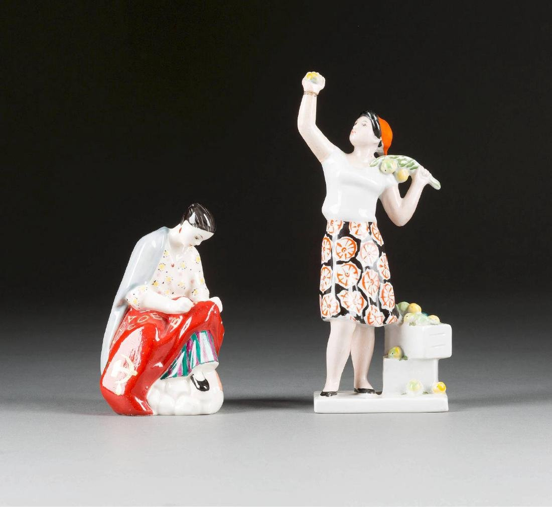 TWO PORCELAIN FIGURES After a design by Natalia