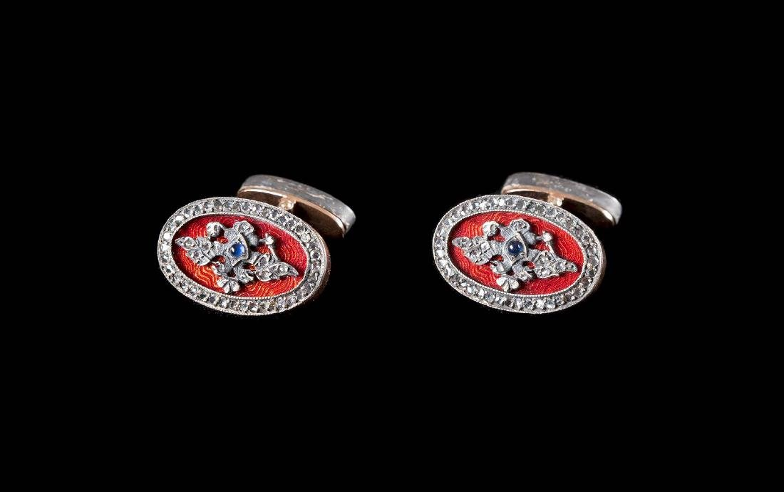 A PAIR OF JEWELLED GOLD AND GUILLOCHÉ ENAMEL CUFFLINKS