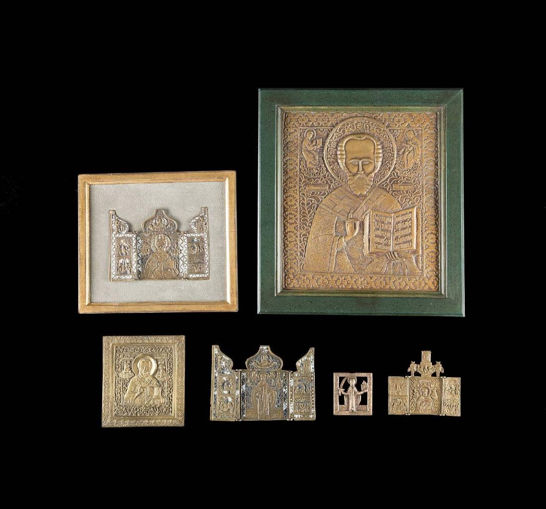 TRHEE BRASS TRIPTYCHS AND THREE BRASS ICONS SHOWING ST.