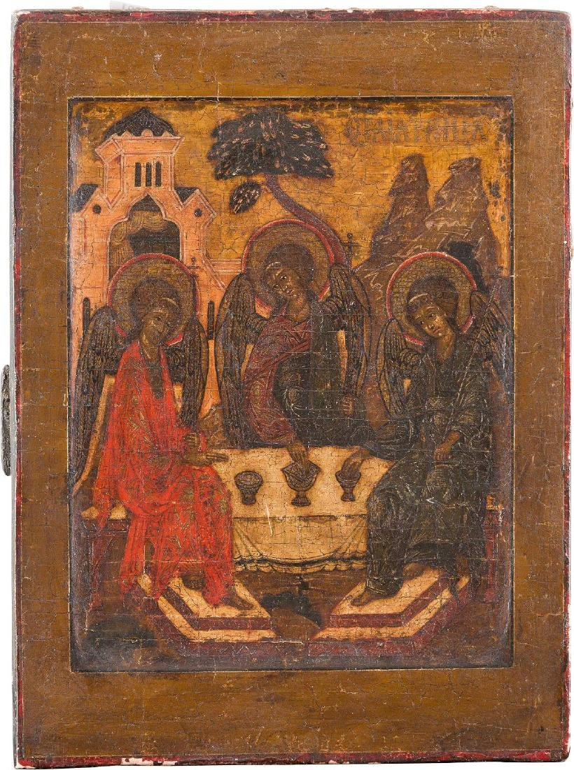 A SMALL ICON SHOWING THE OLD TESTAMENT TRINITY Russian,
