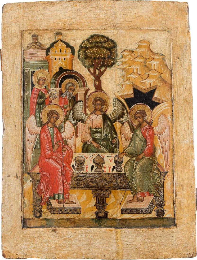 A FINE AND LARGE ICON SHOWING THE OLD TESTAMENT TRINITY