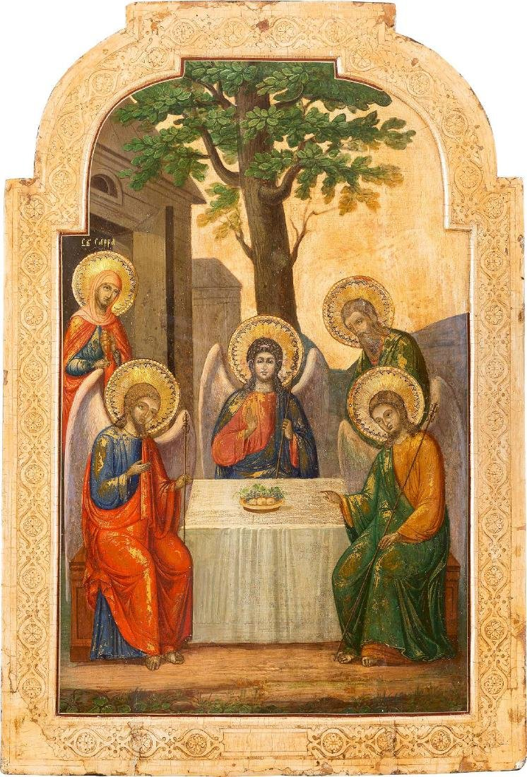 A LARGE ICON SHOWING THE OLD TESTAMENT TRINITY Russian,