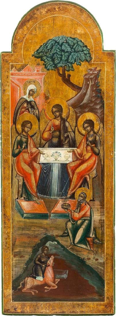 A MONUMENTAL ICON SHOWING THE OLD TESTAMENT TRINITY