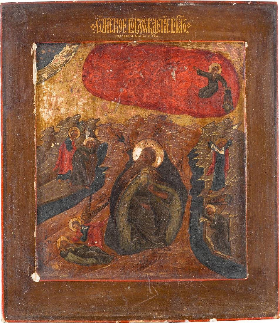 AN ICON OF THE FIERY ASCENSION OF ELIJAH THE PROPHET