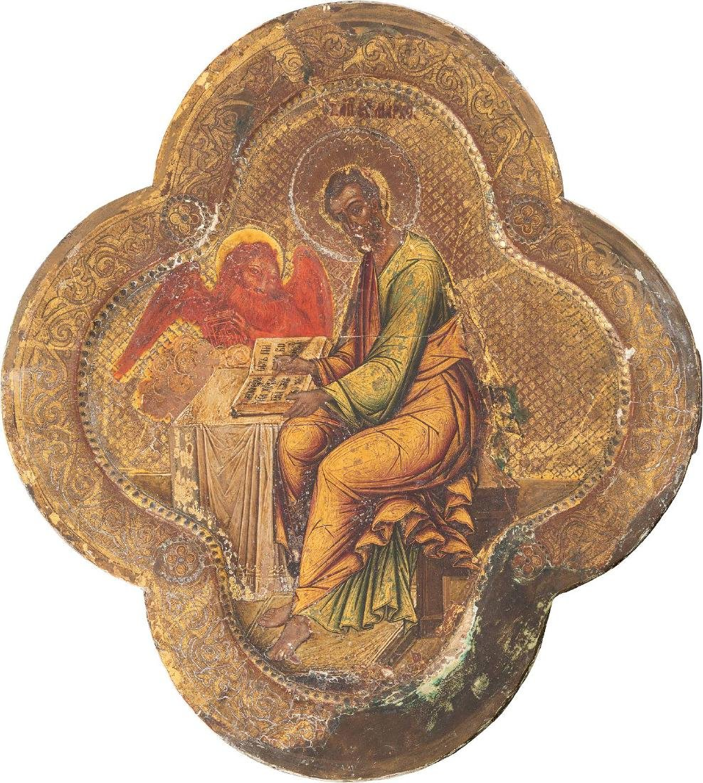 AN ICON SHOWING ST. MARK THE EVANGELIST Russian, late