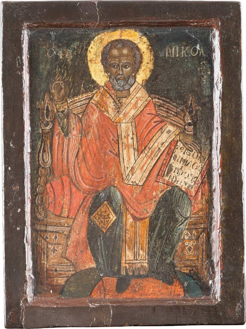 A SMALL ICON SHOWING ST. NICHOLAS OF MYRA Greek, 18th