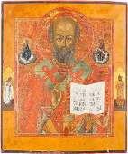 A LARGE AND FINE ICON SHOWING ST NICHOLAS OF MYRA