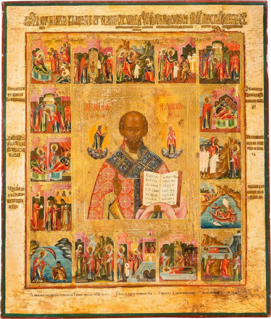 A FINE AND LARGE VITA ICON OF ST. NICHOLAS OF MYRA