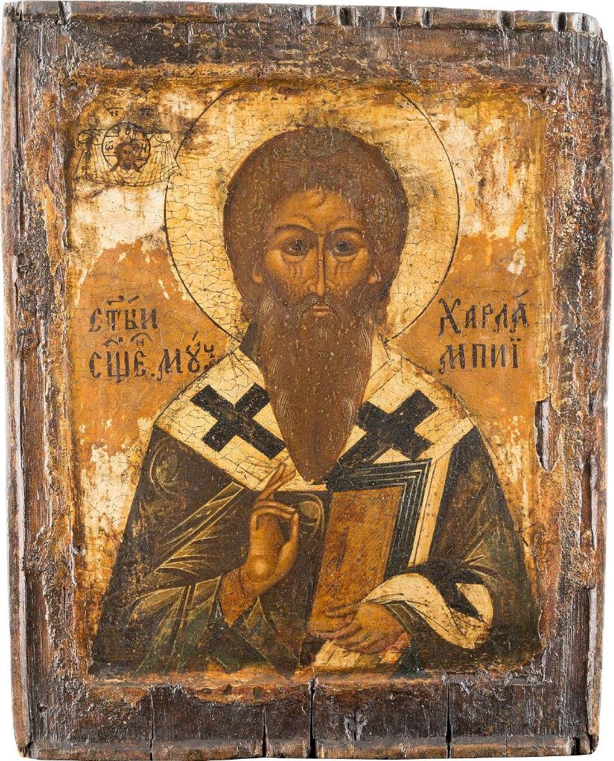 AN ICON SHOWING ST. CHARALAMBOS Russian, 17th century