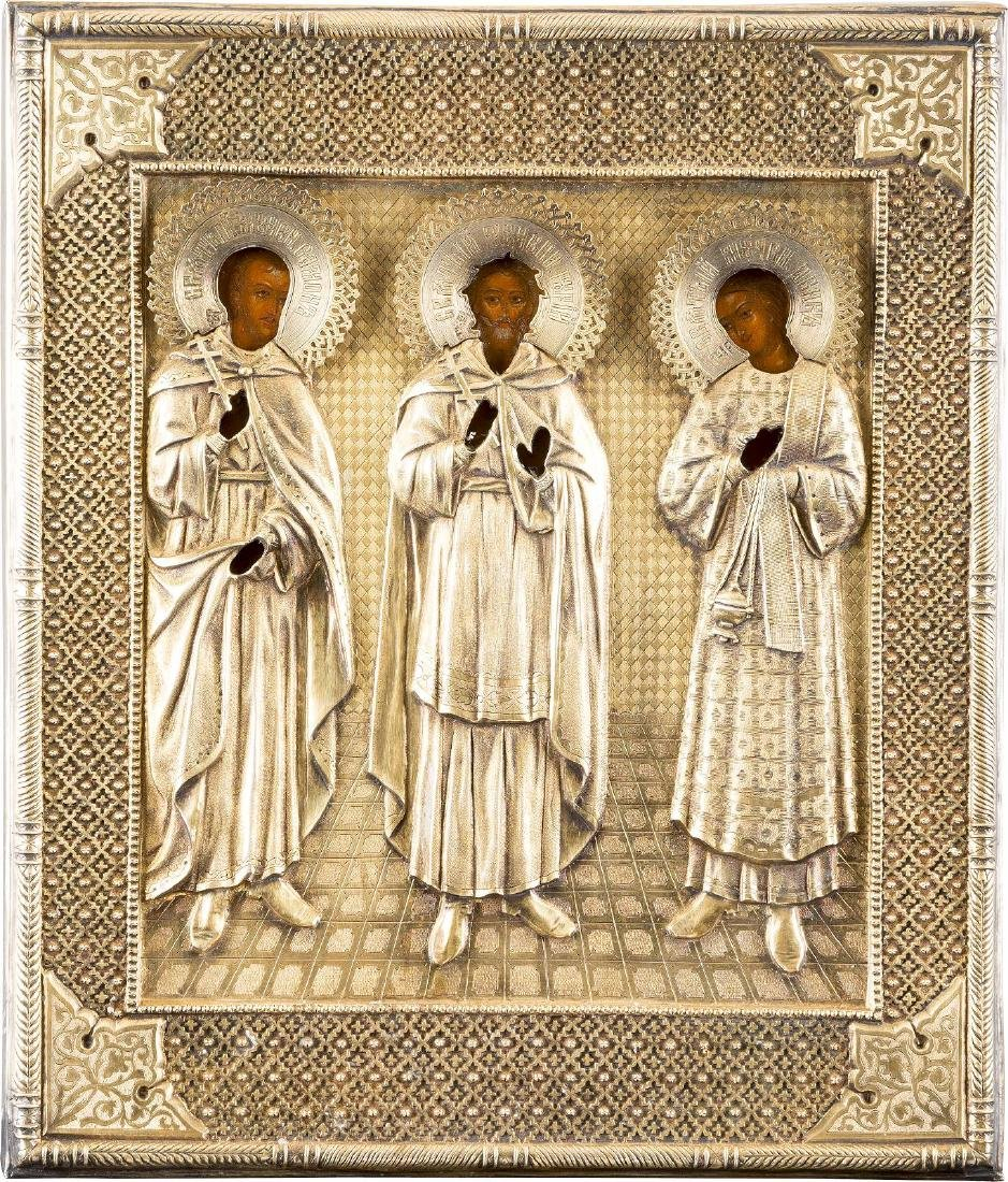 AN ICON SHOWING STS. GURIY, SAMON AND AVIV WITH