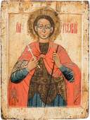 A LARGE ICON SHOWING ST GEORGE Russian 17th century
