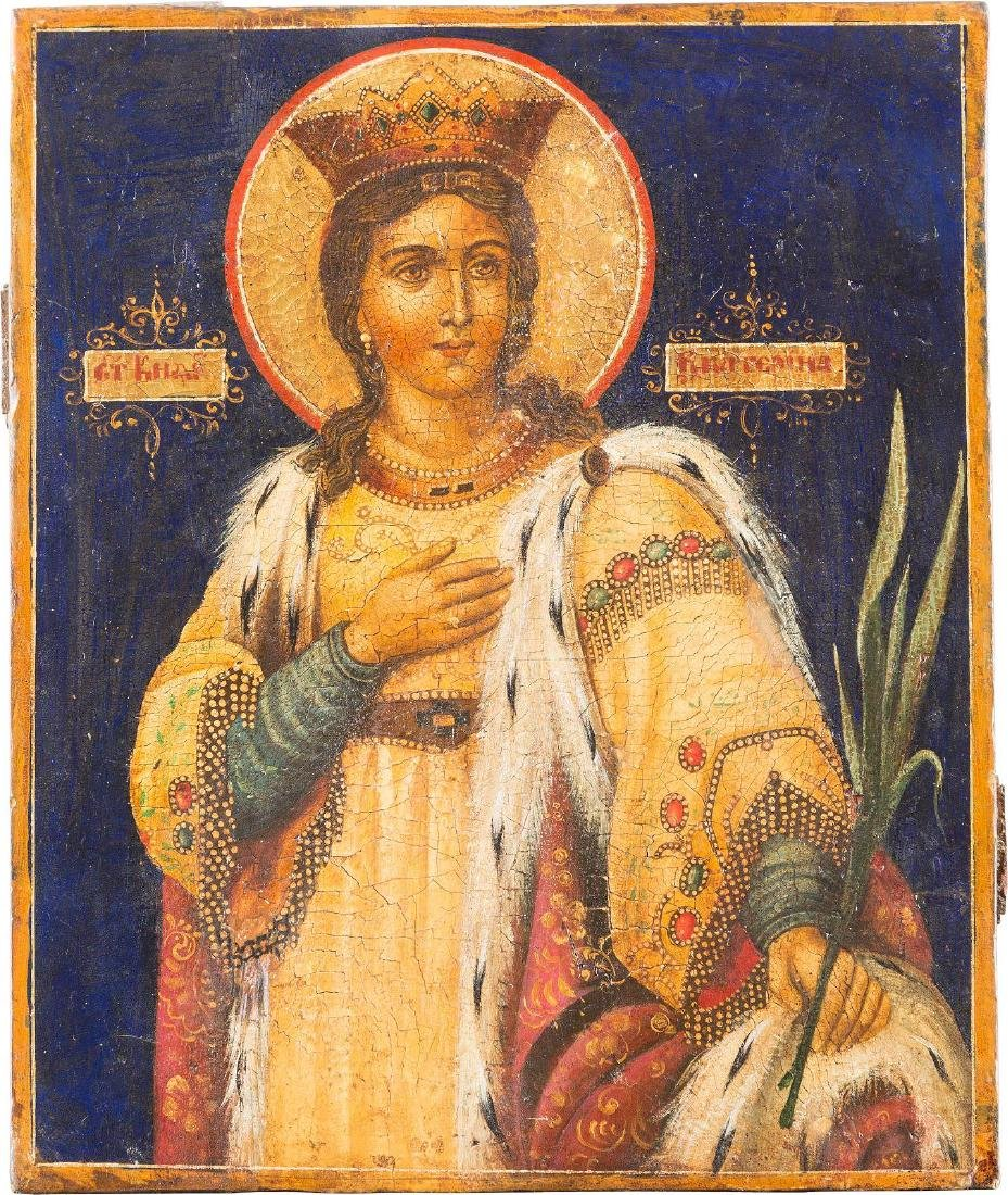 AN ICON SHOWING THE MARTYR ST. CATHERINE Russian, 19th
