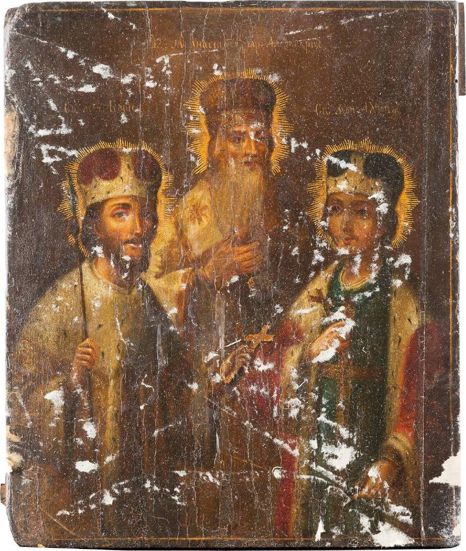 AN ICON SHOWING STS. BORIS, GLEB AND ATHANASIUS OF