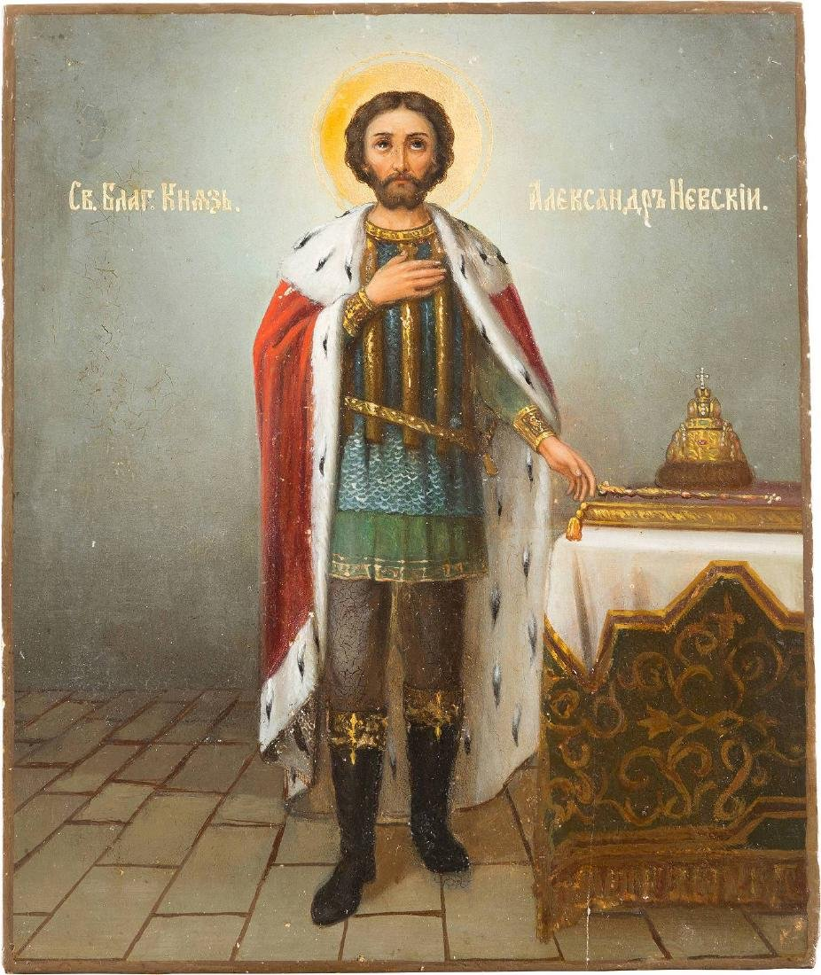 A DATED ICON SHOWING ST. ALEXANDER NEVSKY Russian, St.