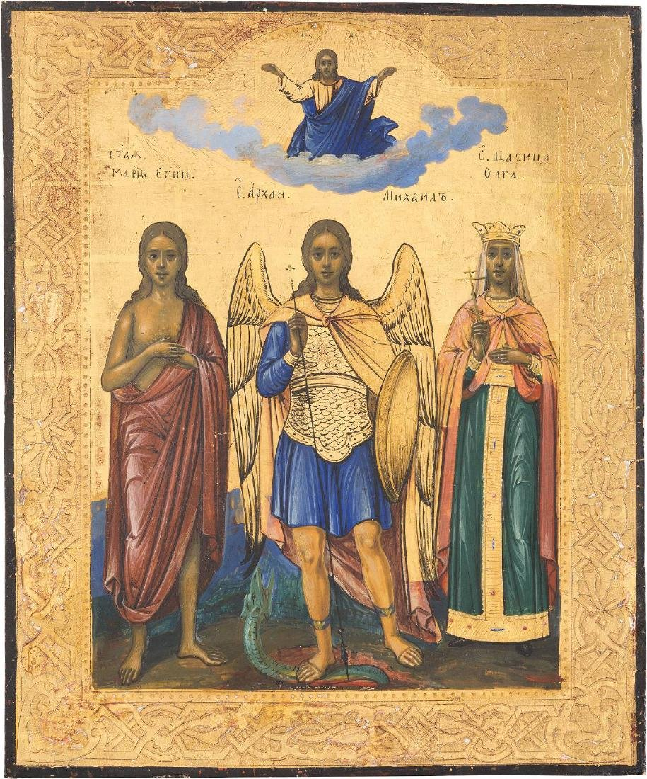 AN ICON SHOWING THE ARCHANGEL MICHAEL AND STS. MARY OF