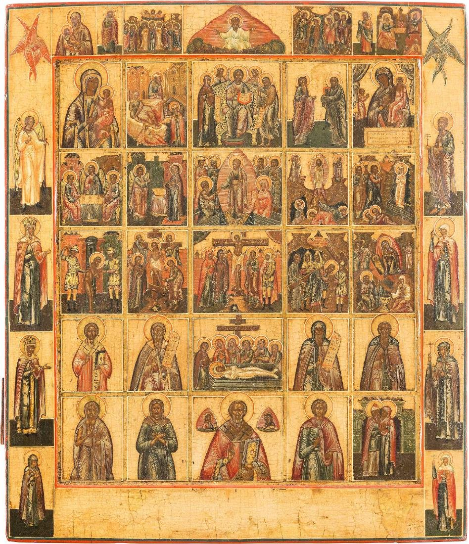 A LARGE MULTI-PARTITE ICON SHOWING FEASTS AND IMAGES OF