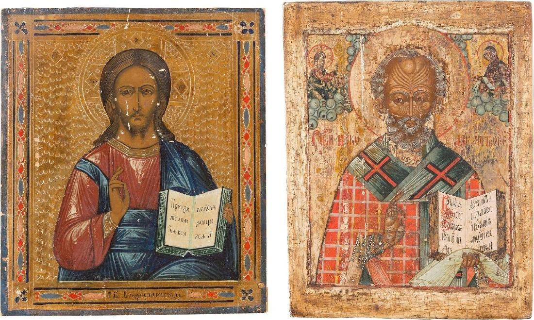 TWO ICONS: CHRIST PANTOKRATOR AND ST. NICHOLAS OF MYRA