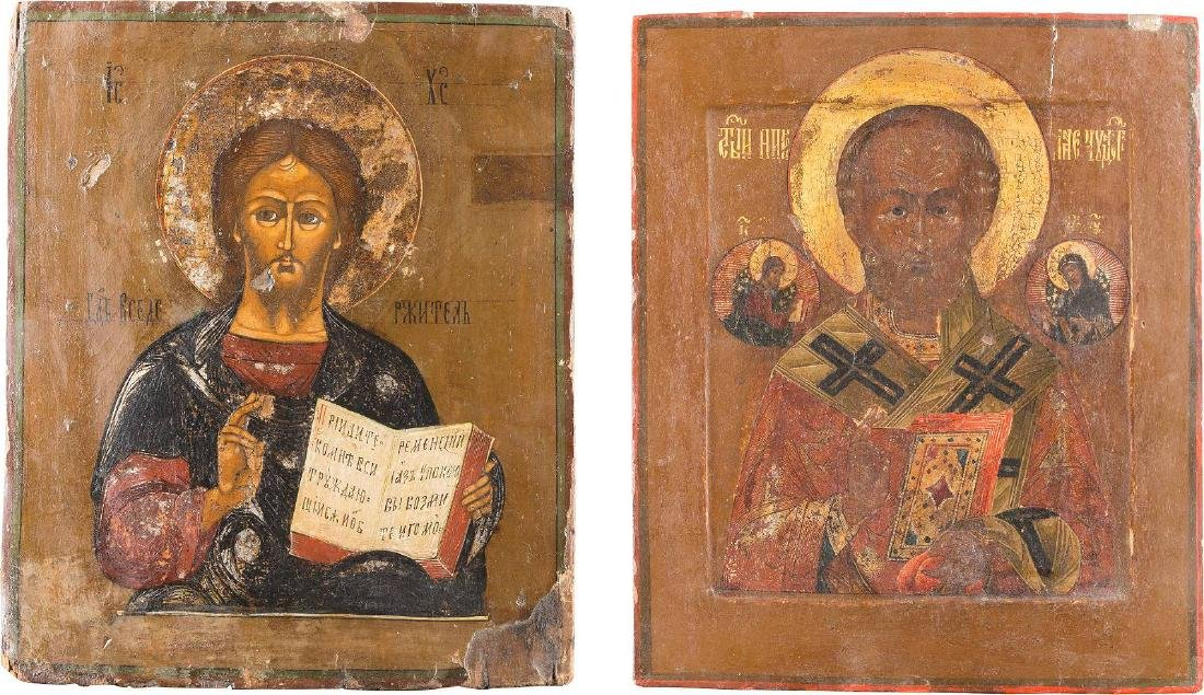 TWO ICONS: ST. NICHOLAS OF MYRA AND CHRIST PANTOKRATOR