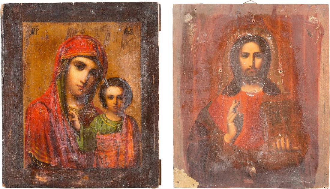 TWO ICONS: CHRIST PANTOKRATOR AND THE KAZANSKAYA MOTHER