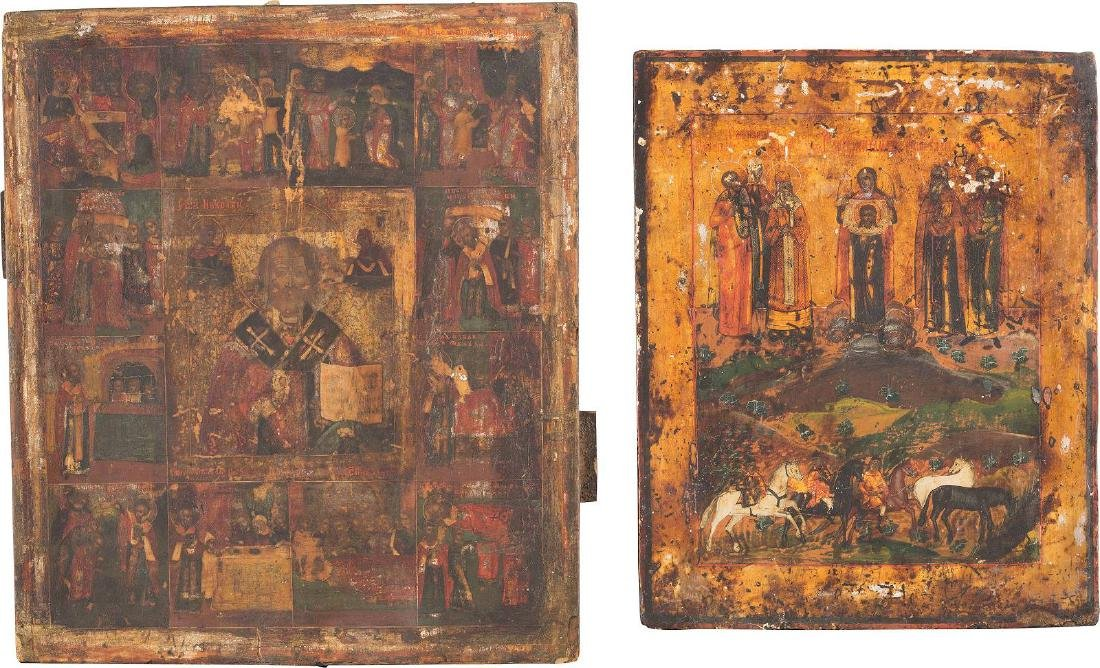TWO ICONS: A VITA ICON OF ST. NICHOLAS OF MYRA AND AN