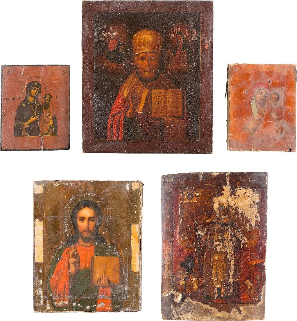 FIVE ICONS: TWO IMAGES OF THE MOTHER OF GOD, CHRIST