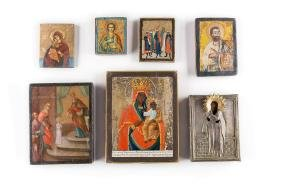 A COLLECTION OF SEVEN ICONS SHOWING IMAGES OF THE