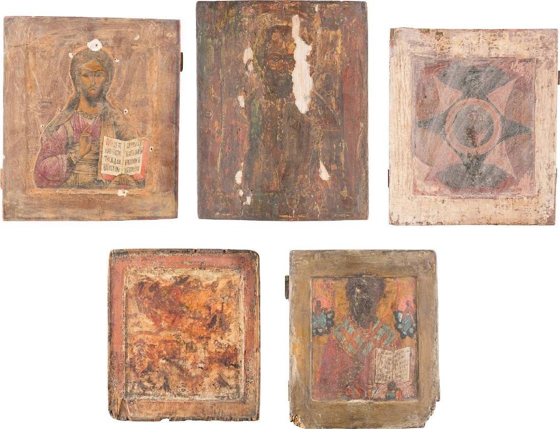FIVE ICONS Russian, 18th/19th century Tempera on wood