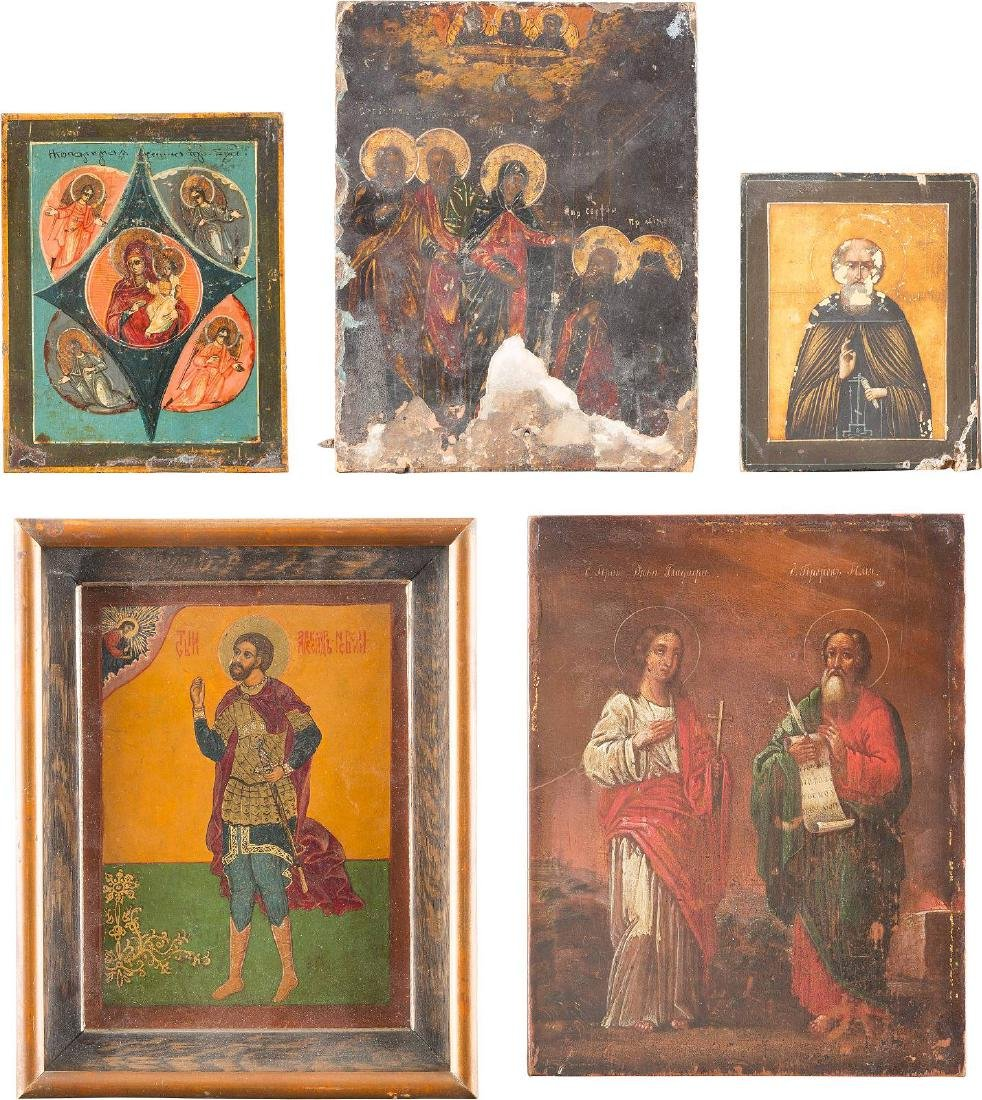FIVE SMALL ICONS SHOWING IMAGES OF THE MOTHER OF GOD