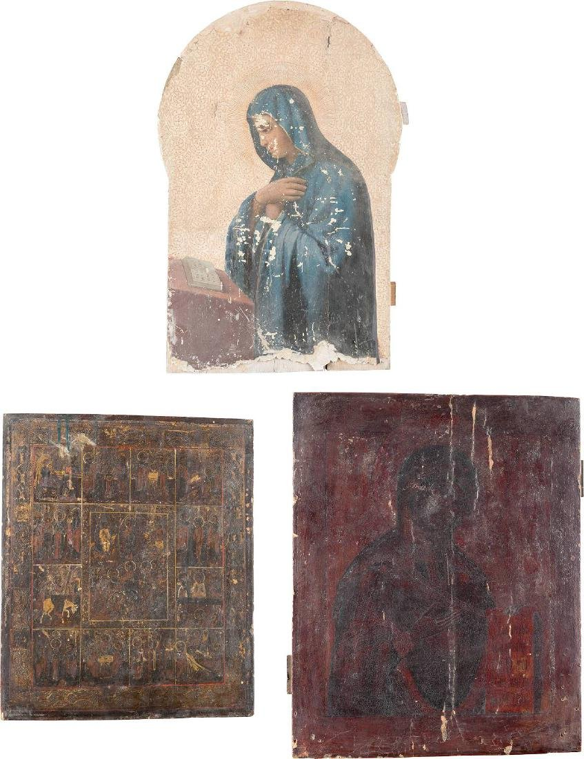 THREE ICONS: THE MOTHER OF GOD FROM A DEISIS, THE