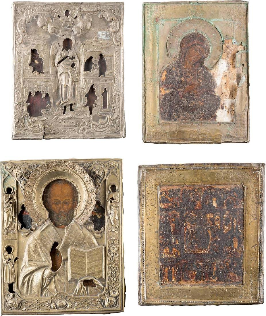 FOUR ICONS WITH OKLAD: A FEAST ICON, ST. NICHOLAS OF
