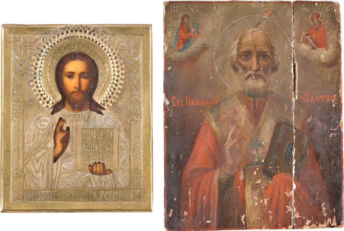 TWO ICONS: CHRIST PANTOKRATOR WITH BRASS OKLAD AND ST.