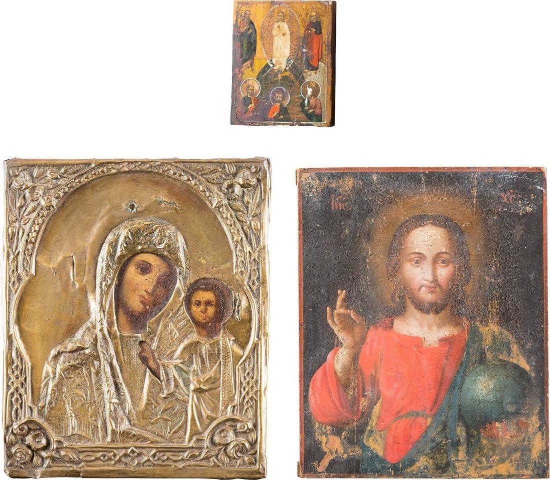 THREE ICONS: THE KAZANSKAYA MOTHER OF GOD, CHRIST