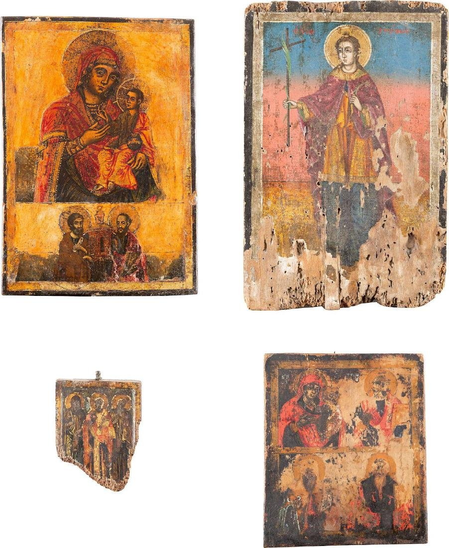 FOUR ICONS (FRAGMENTS OF ICONS) SHOWING IMAGES OF THE