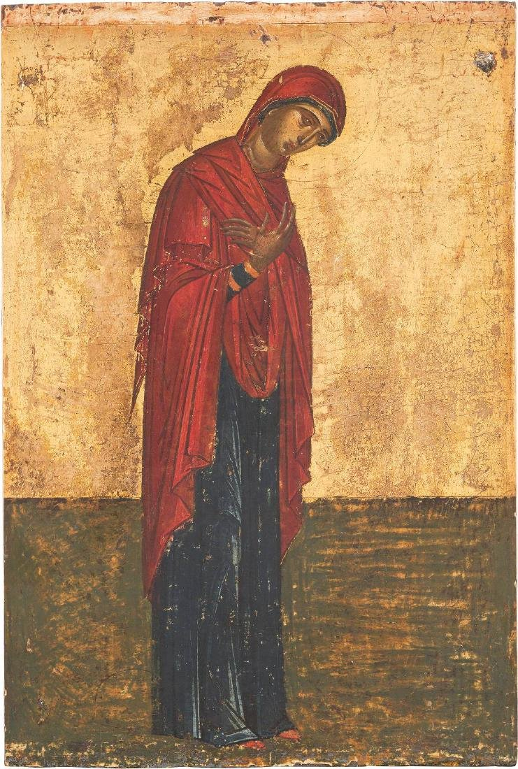 AN FINE ICON SHOWING THE MOTHER OF GOD FROM AN