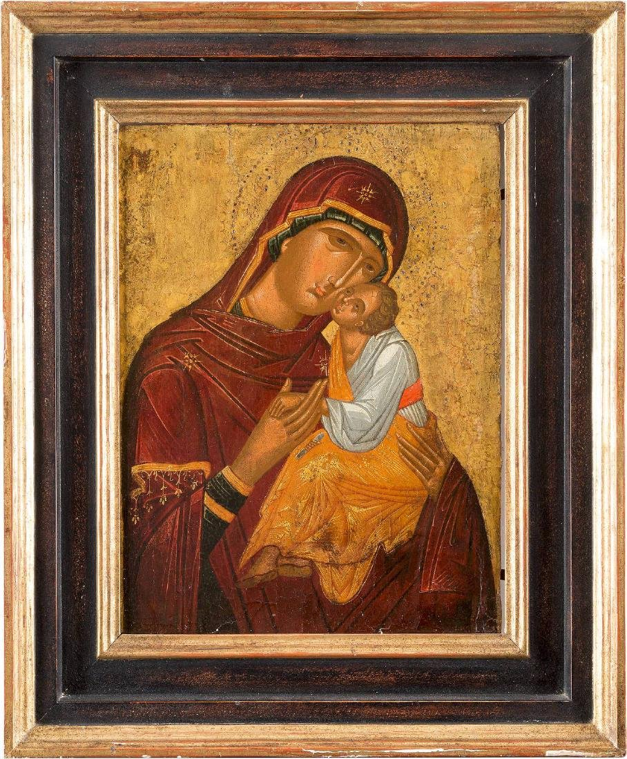 A VERY FINE ICON OF THE ELEUSA MOTHER OF GOD