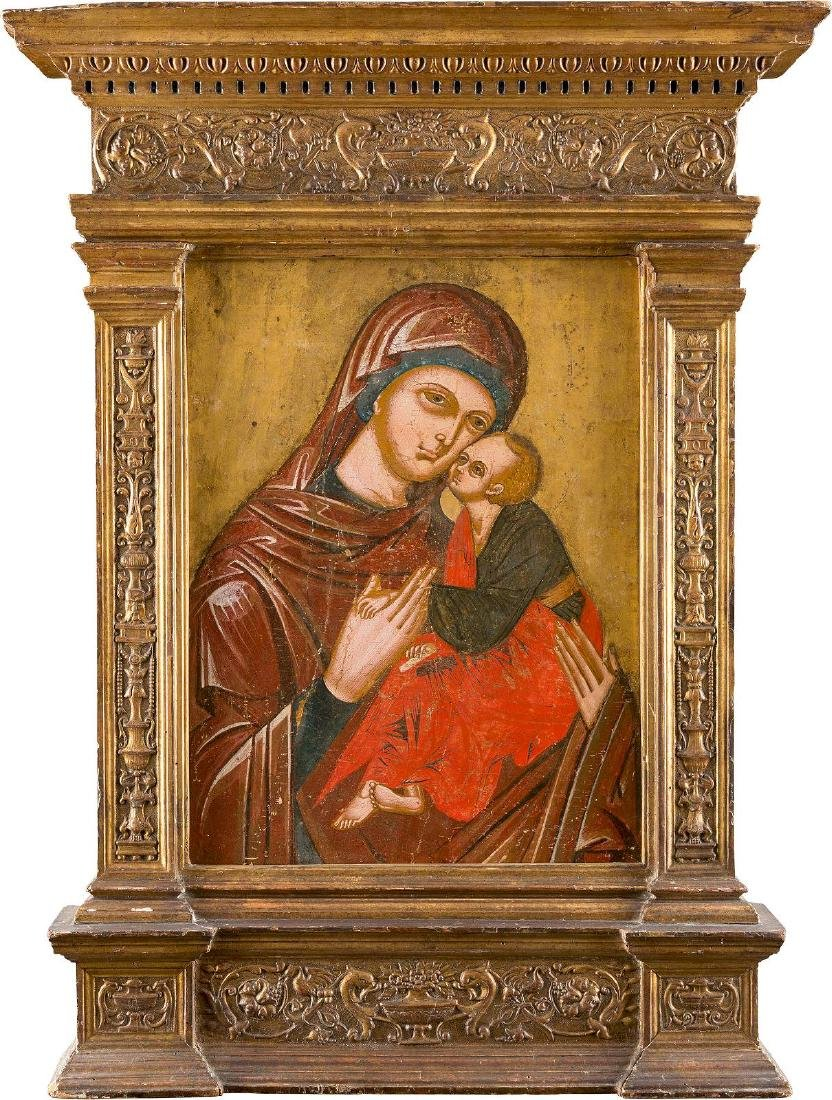 A LARGE ICON OF THE GLYKOPHILOUSA MOTHER OF GOD