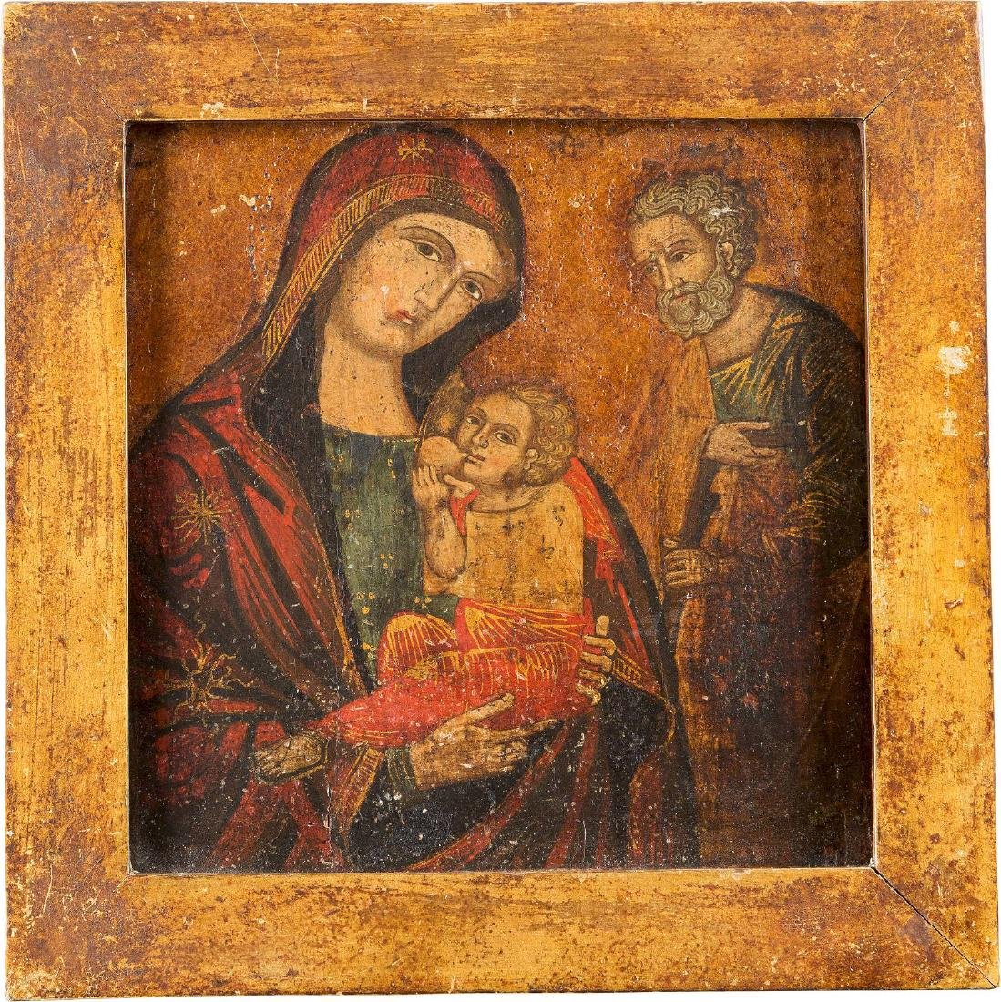 AN ICON OF THE MOTHER OF GOD GALAKTOTROPHOUSA AND ST.
