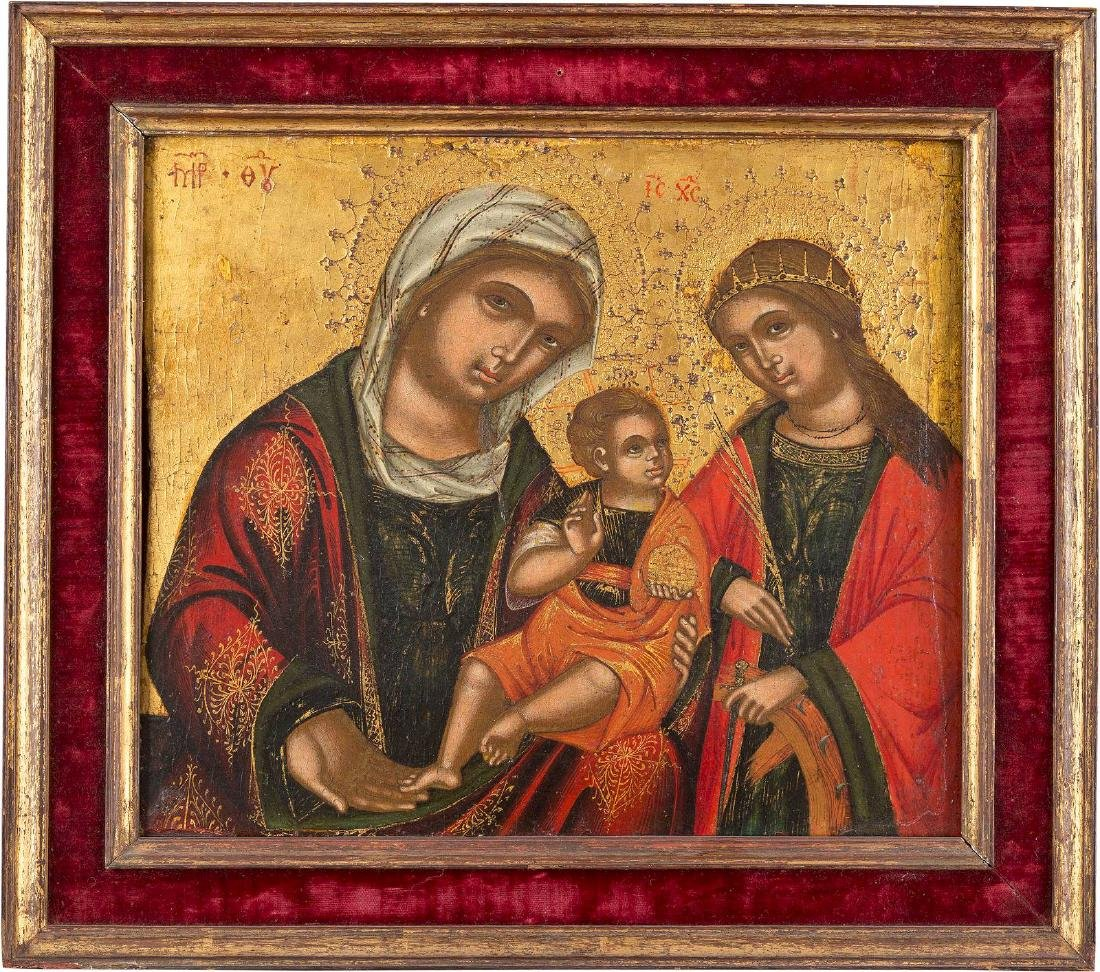 AN ICON SHOWING THE CONSOLAZIONE MOTHER OF GOD WITH ST.
